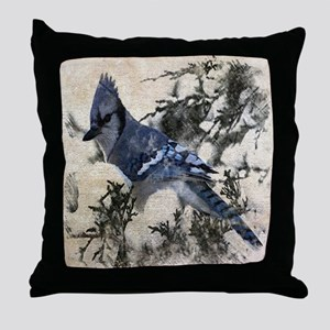 christmas snow blue jay Throw Pillow